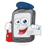 智能手机邮递员 库存图片
