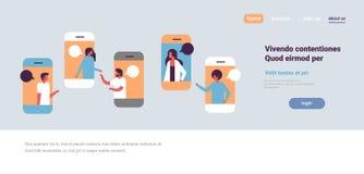 智能手机闲谈起泡流动应用沟通的讲话对话人妇女字符背景画象拷贝 库存例证