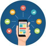 智能手机apps infographics 库存图片