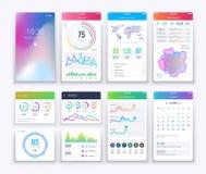 智能手机UI 流动向量图形ui和ux设计, apps数字式生活方式apps接口模板集合 库存例证
