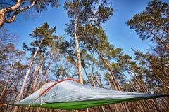 暂停在树在空气帐篷在竞选 免版税库存照片