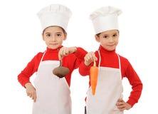 暂挂一点的首要烹饪器材二棵蔬菜 库存照片