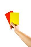 暂挂红色黄色的看板卡现有量 图库摄影