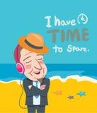 暑假例证、平的设计商人和音乐概念 免版税库存图片
