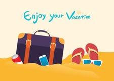 暑假例证、平的设计海滩和商人概念 库存照片