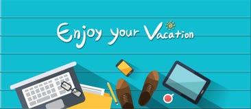 暑假例证、平的设计海滩和家业供以人员概念 免版税库存图片