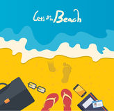 暑假例证,海滩的平的设计商人,概念 免版税库存照片