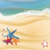 暑假例证-海滩沙子的海晴朗的海景传染媒介 免版税库存照片
