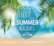暑假例证 靠岸,棕榈树美好的全景海视图,传染媒介 免版税库存图片