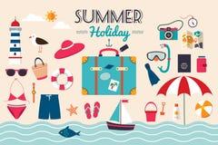暑假元素汇集 库存照片