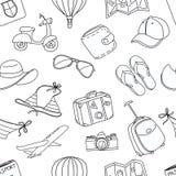 暑假剪影乱画无缝的样式 黑色白色 免版税库存图片