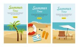 暑假和旅游业 设置三副网横幅 图库摄影