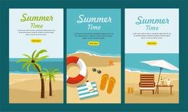 暑假和旅游业 设置三副网横幅 免版税图库摄影
