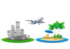 暑假导航例证、平的设计海滩和遮阳伞概念 图库摄影