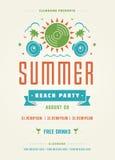 暑假海滩党印刷术海报或飞行物设计 库存图片