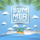 暑假纸样式与热带海岛的贺卡在海 免版税图库摄影