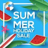 暑假销售纸与充满活力的色的植物和西瓜的样式标志 免版税图库摄影
