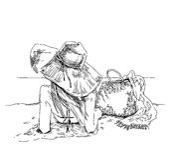 暑假-原始的手拉的例证 库存照片