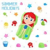 暑假-可爱的贴纸设置-孩子海滩党元素 免版税图库摄影