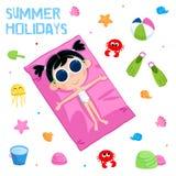 暑假-可爱的贴纸设置-孩子海滩党元素 库存图片
