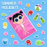 暑假-可爱的贴纸设置-孩子海滩党元素 库存照片