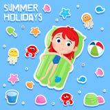 暑假-可爱的贴纸设置-孩子海滩党元素 免版税库存图片