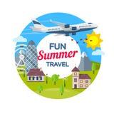 暑假 旅行向英国 海滩formentera海岛妇女年轻人 在平的样式的圆的横幅 旅行在假期的时候乘飞机 村庄, 库存图片