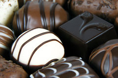 黑暗、牛奶和白色巧克力 库存照片