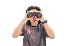 暗中侦察的某人 免版税库存照片