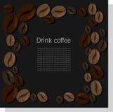 黑暗的传染媒介卡片用咖啡豆 库存图片