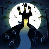 黑暗的城堡witn月亮 向量例证