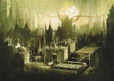 黑暗的城市地平线和日落  免版税库存图片