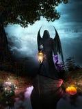黑暗的天使和灯笼 向量例证