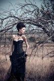 黑暗的女王/王后在公园 幻想黑色礼服 库存图片