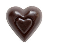 黑暗的巧克力心脏 免版税图库摄影