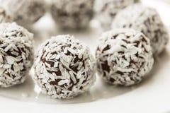 黑暗的巧克力椰子果仁巧克力能量叮咬 免版税库存照片