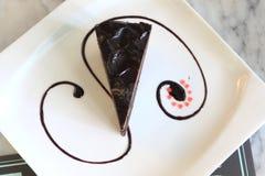 黑暗的巧克力顶视图  库存照片