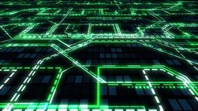 黑暗的技术摘要背景-飞行在发光的电路、导线、线、连接和数字式二进制列阵,无缝的厕所 皇族释放例证