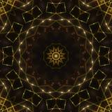 黑暗的抽象背景,金万花筒光 图库摄影