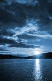 黑暗的日落,夜风景 免版税库存图片