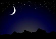 黑暗的月光夜背景 免版税库存图片