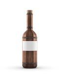 黑暗的木酒瓶 免版税库存照片
