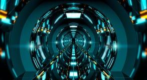 黑暗的未来派太空飞船走廊3D翻译 皇族释放例证