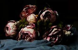 黑暗的桃红色牡丹花束  免版税库存照片