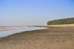 黑暗的沙子海滩 库存照片