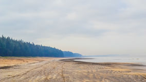 黑暗的沙子海滩 免版税库存照片
