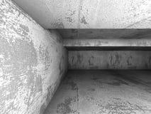 黑暗的混凝土墙室内部 建筑学抽象backgro 免版税库存图片