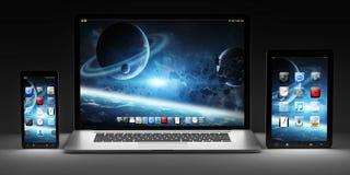 黑暗的现代计算机膝上型计算机手机和片剂3D翻译 免版税图库摄影