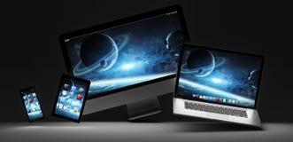 黑暗的现代计算机膝上型计算机手机和片剂3D翻译 库存照片