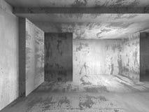 黑暗的空的具体室内部 抽象建筑学backgro 库存照片